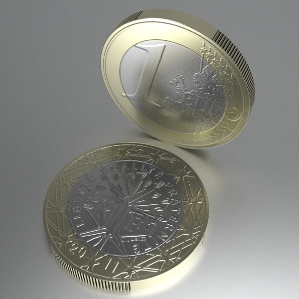 french euro coins 3d model 3ds fbx skp obj 120568