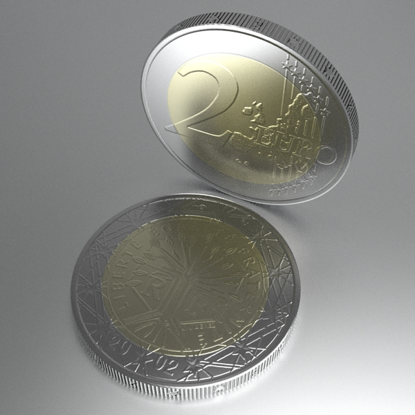 french euro coins 3d model 3ds fbx skp obj 120569
