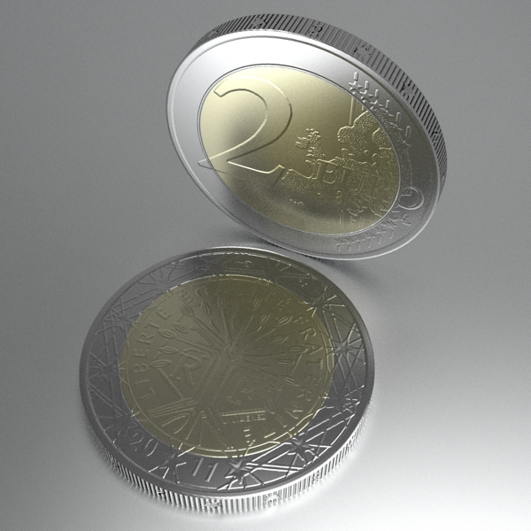 french euro coins 3d model 3ds fbx skp obj 120570