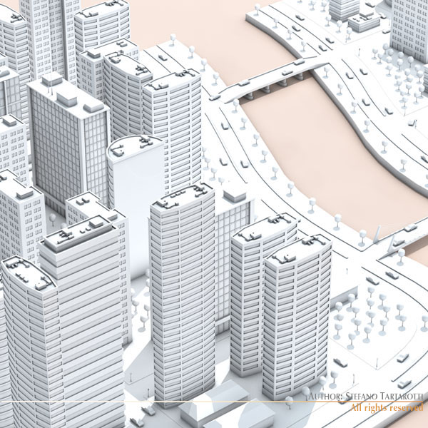city with river 3d model 3ds max dxf fbx c4d dae ma mb obj 122318