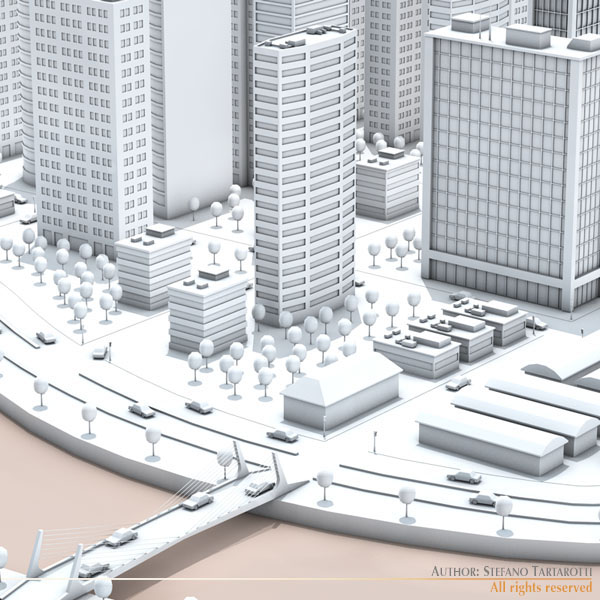 city with river 3d model 3ds max dxf fbx c4d dae ma mb obj 122319