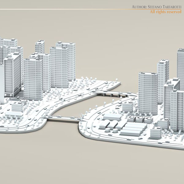 city with river 3d model 3ds max dxf fbx c4d dae ma mb obj 122324