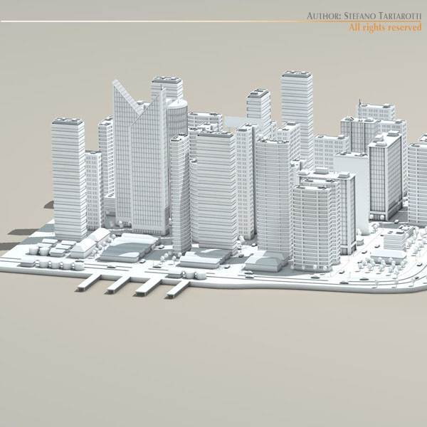 city with river 3d model 3ds max dxf fbx c4d dae ma mb obj 122325