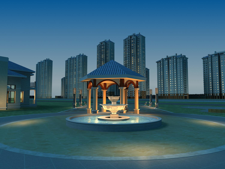 pilsētas aina ar ēkām un strūklaku 762 3d modelis max 146964