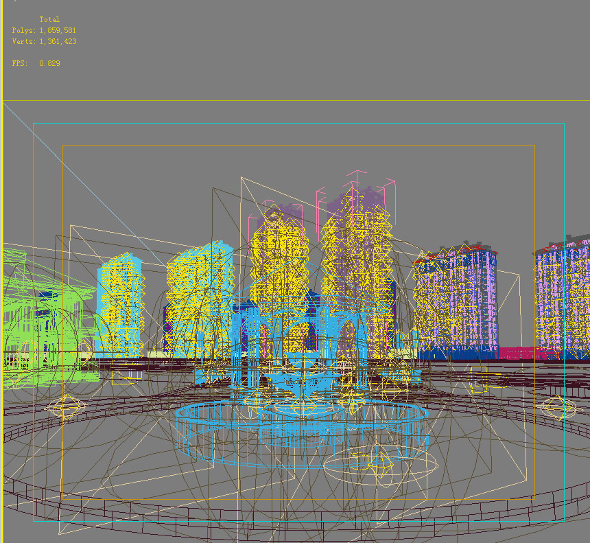 urban scene with buildings and fountain 762 3d model max 146965