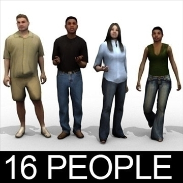16 3d people models – casual 2 3d model 3ds max lwo 89340