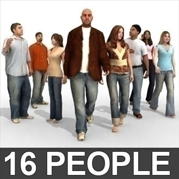 16 3d models de persones - model 3d casual 3ds max lwo 89322