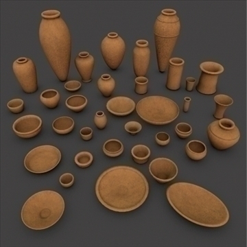 ancient egypt clay pottery 37 pcs uv mapped 3d model 3ds dxf fbx c4d texture tiff obj 97677