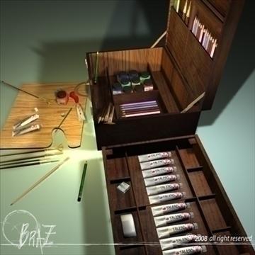 artist suitcase 3d model 3ds dxf c4d obj 109509