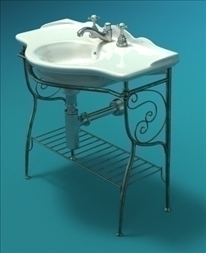 bathroom classic sink 3d model lwo 79356