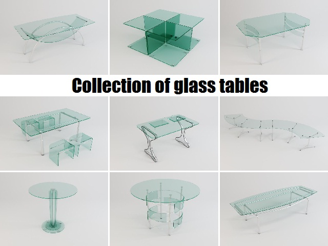 collection of glass tables 3d model 3ds max fbx obj 118431