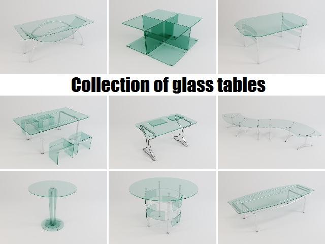 колекція скляних столів 3d модель 3ds max fbx obj 118431