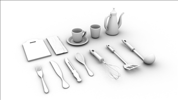 cookware and tableware 3d model 3ds max fbx ma mb obj 110077