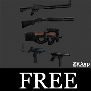 free modern weapons pk2 3d model 3ds 104583