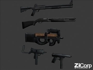 free modern weapons pk2 3d model 3ds 104584