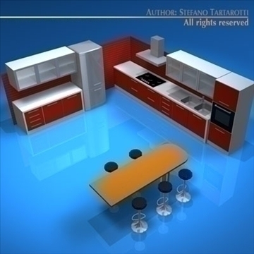 kitchen furniture 3d model 3ds dxf c4d obj 93913