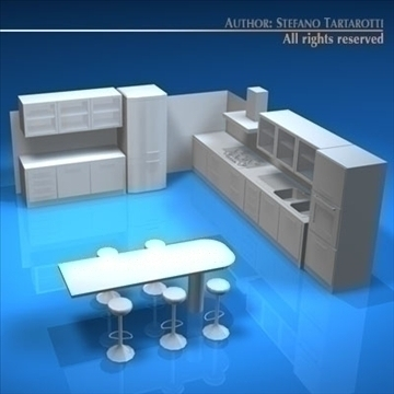 kitchen furniture 3d model 3ds dxf c4d obj 93917