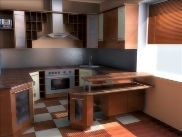 kitchen in classic style 3d model lwo 79346