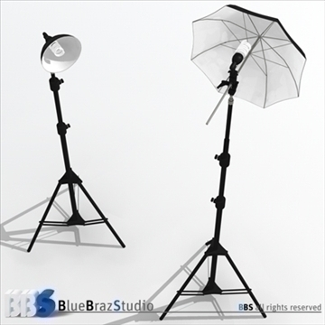 light umbrella and fluorescent light 3d model 3ds dxf c4d obj 111605