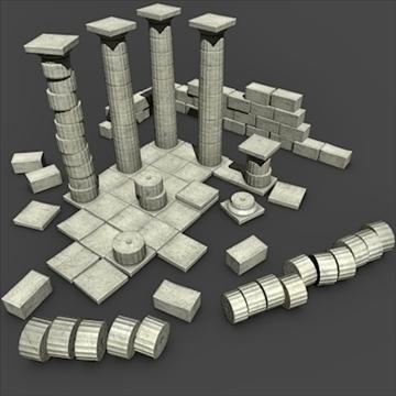 low poly greek doric ruins set 3d model 3ds dxf fbx c4d jpeg jpg obj 103636