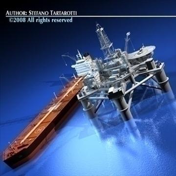 eļļas platforma ar tankership 3d modeli 3ds dxf c4d obj 86703
