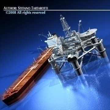 platform minyak dengan model kapal tangki 3d 3ds dxf c4d obj 86703