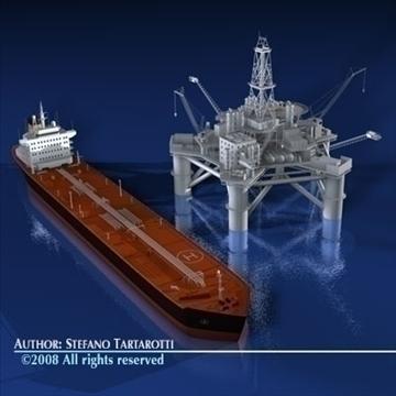 oil platform with tankership 3d model 3ds dxf c4d obj 86704