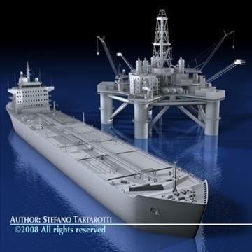 oil platform with tankership 3d model 3ds dxf c4d obj 86707