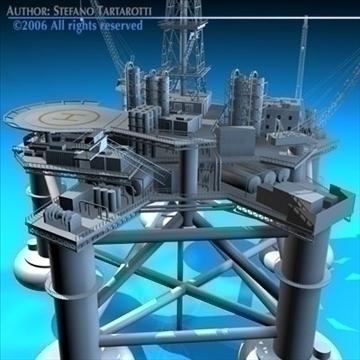 oil platform with tankership 3d model 3ds dxf c4d obj 86711