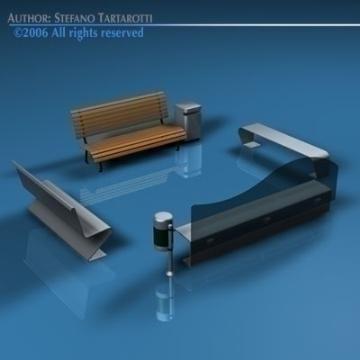 park benches collection 3d model 3ds dxf c4d obj 78040