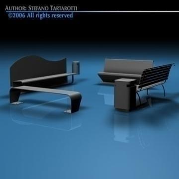 park benches collection 3d model 3ds dxf c4d obj 78043