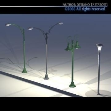 street lamps set 3d model 3ds dxf other obj 78389