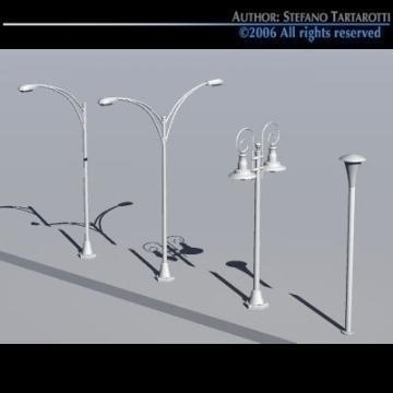 street lamps set 3d model 3ds dxf other obj 78390