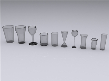 ten drinking glasses 3d model 3ds max fbx obj 93113