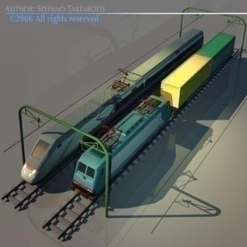 trains set 3d model 3ds dxf obj other 78343