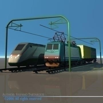 trains set 3d model 3ds dxf obj other 78344