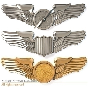 wings badges 3d model 3ds dxf c4d obj 100789