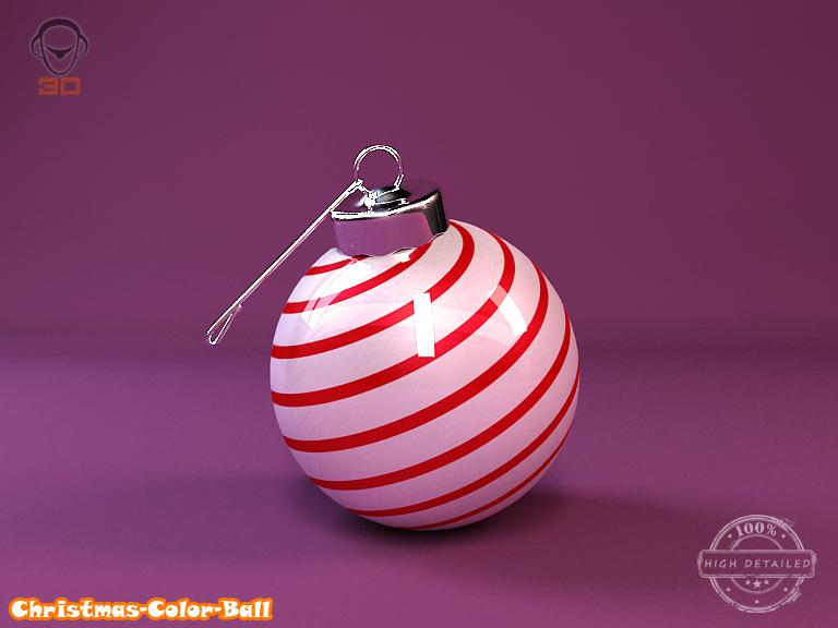 christmas color ball 3d model 3ds max fbx obj 148289