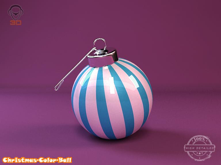 christmas color ball 3d model 3ds max fbx obj 148290
