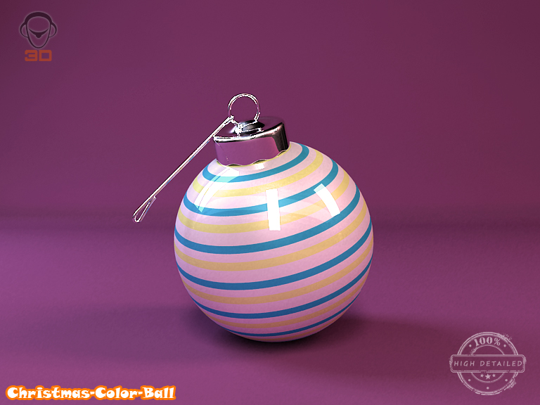 christmas color ball 3d model 3ds max fbx obj 148291
