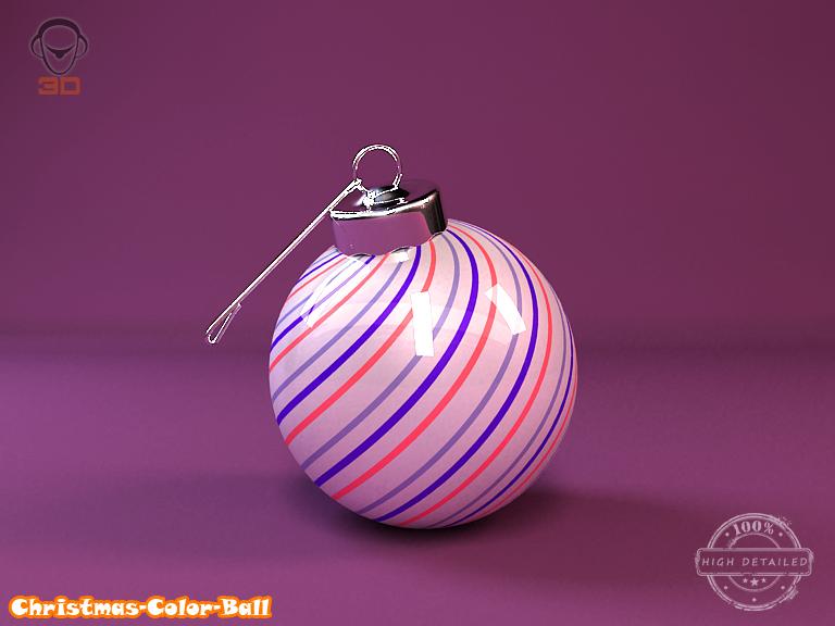 christmas color ball 3d model 3ds max fbx obj 148292