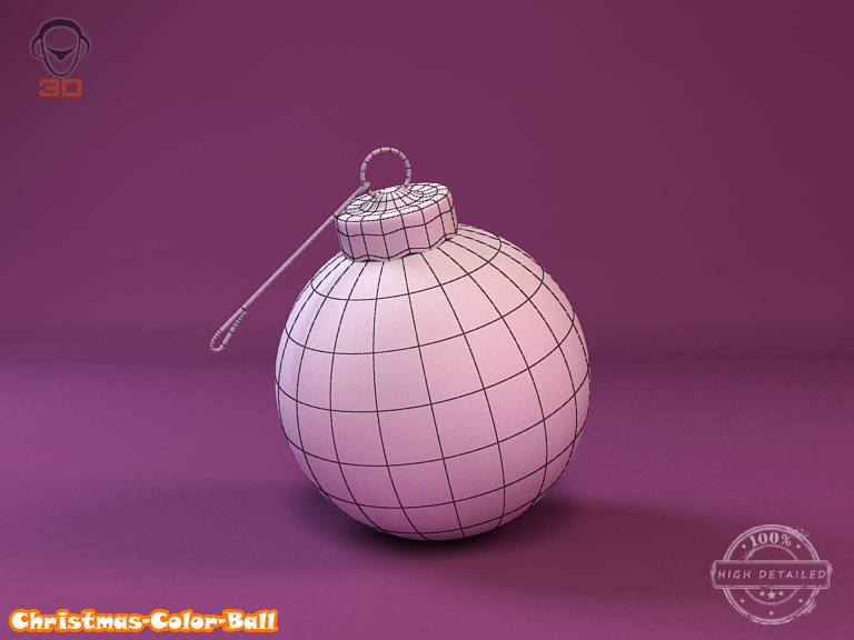 christmas color ball 3d model 3ds max fbx obj 148296