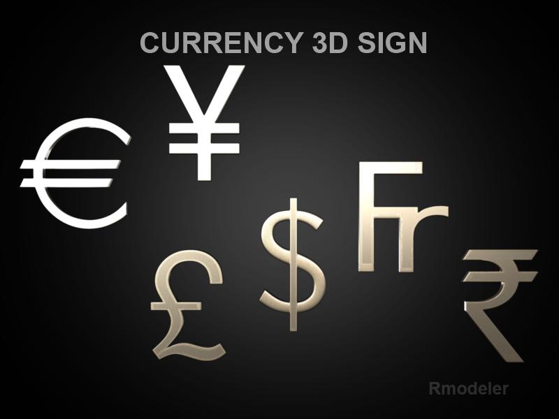 currency sign 3d model 3ds fbx c4d lwo ma mb hrc xsi obj 121028