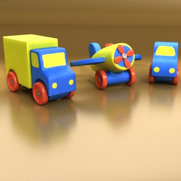 wooden toy car truck & plane 3d model 3ds max fbx obj 129520