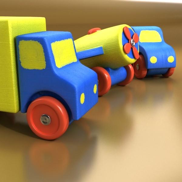 wooden toy car truck & plane 3d model 3ds max fbx obj 129521