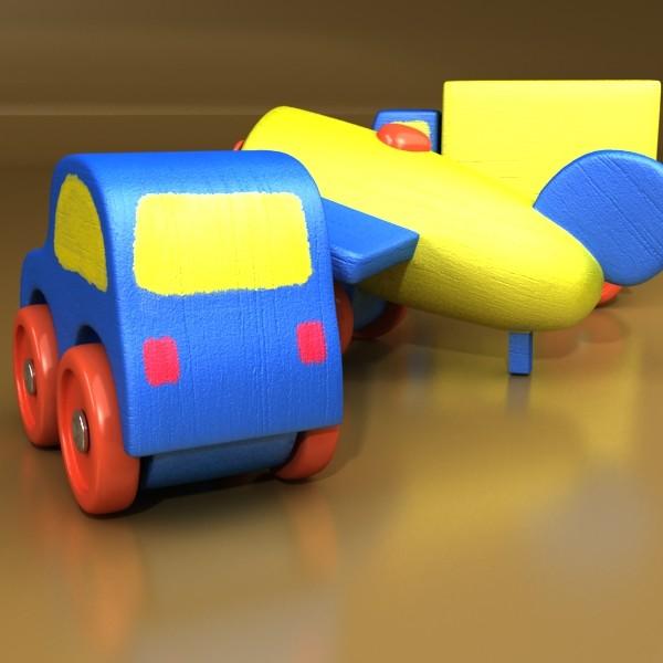 wooden toy car truck & plane 3d model 3ds max fbx obj 129522