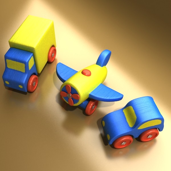 wooden toy car truck & plane 3d model 3ds max fbx obj 129523