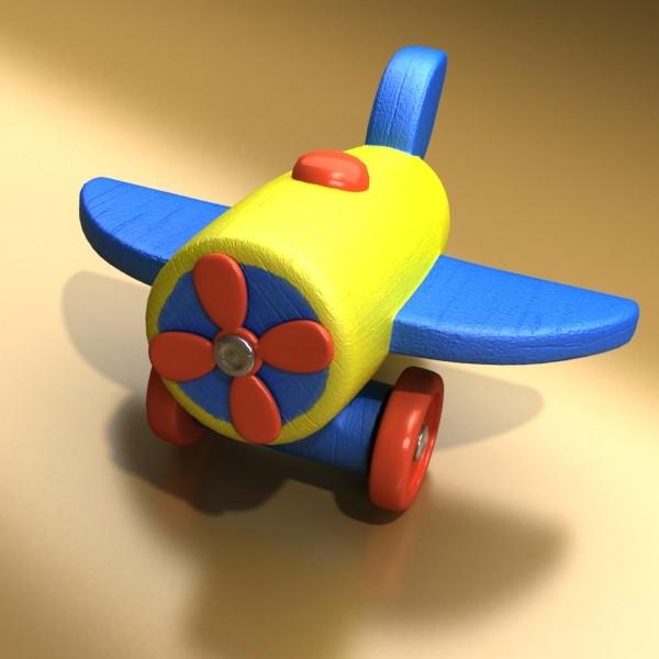 wooden toy car truck & plane 3d model 3ds max fbx obj 129532