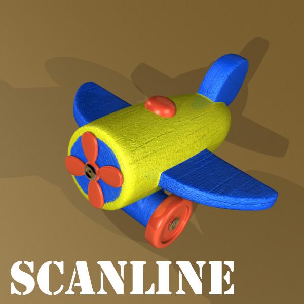 wooden toy car truck & plane 3d model 3ds max fbx obj 129538
