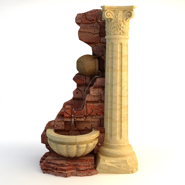 fountain and stone column 3d model 3ds max texture obj 114764